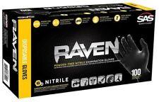 SAS Raven Black Nitrile Gloves Powder Free, Large - Free Shipping