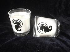 Pair of B&W Romany Designer Seahorse Candle's Gift Present Christmas Birthday