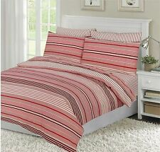 STRIPED RED CREAM SUPER KING 260X220CM 100% BRUSHED COTTON DUVET COMFORTER COVER