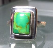 Sterling silver everyday green Mojave turquoise ring UK N½/US 7.