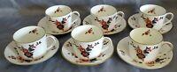 Coalport England Khotar Set of 6 Cups & Saucers -Bone China