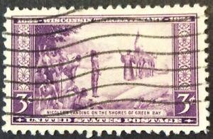1934 3c Wisconsin Tercentenary commemorative, Scott #739, Used, VF