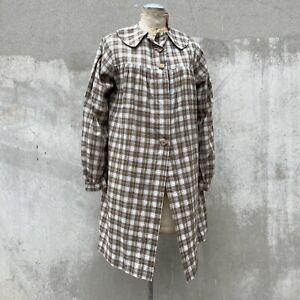 Vintage 1930s Brown & Green Plaid Cotton Smock Dress Coat Jacket Wooden Deco