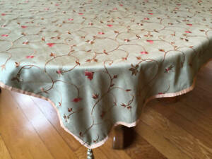 Elegant PIER ONE Floral Embellish  Rectangular  Satin Tablecloth