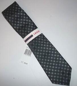 NWT Izod Men's Core Neat Print 100% Silk Necktie Tie Dark Navy Blue Almost Black