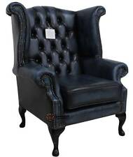 Chesterfield Queen Anne Wing High Back Fireside Chair Antique Blue Leather