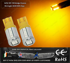 2x LED W5W 501 194 Amber Yellow Parking Lights Side Repeaters Indicators 12v 24v