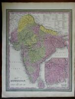 British India Colonial Possessions Dehli Calcutta Bombay c. 1846-9 Mitchell map