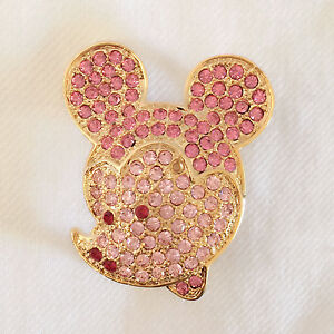 New Pink Cartoon Disney Mickey Mouse Shape Clubhouse Crystals Brooch Pin BR1023A