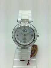 Ladies Oniss White Ceramic Band MOP Dial Day and Date Watch ON642 L WT
