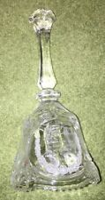 "Vintage 1986 Artmark 24% Lead Crystal ""The Lords Prayer"" Glass Bell, 8"" tall"