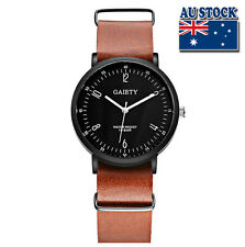 WholeSale Hot Brown Leather Luxury Mens Black Dial Quartz Sports Wrist Watch