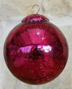Vintage (possibly Kugel) Red Crackle Glazed Glass Christmas Bauble metal top