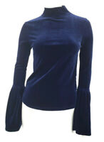 Torn by Ronny Kobo Blouse Womens XS Navy Blue Velour Bell Sleeves Mock Top
