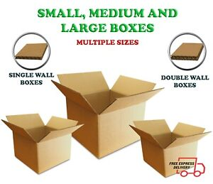 Cardboard Boxes SINGLE DOUBLE wall small medium large mail parcel moving package