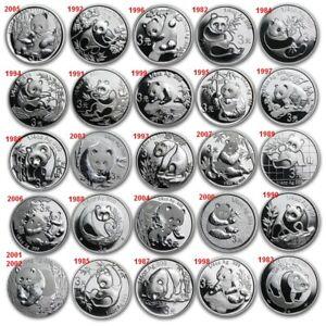 3 Yuan 999 Silber China Panda 2007 Aniv.Edition 1982-2007 Jahr zur Auswahl
