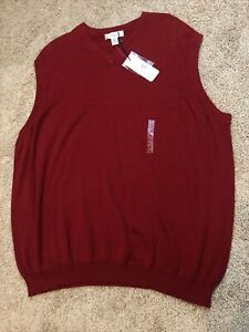 Turnbury Mens Cotton Red Holiday Sweater Vest Sz XXL New With Tags