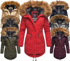 Marikoo Damen Winter Jacke Parka Kurz Mantel FVS2 Kunstfell Baumwolle Laviva PRZ