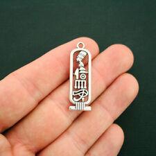 6 Egyptian Pendant Charms Antique Silver Tone Heiroglyph - SC3247