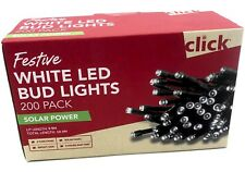 Click Solar Powered White 200 LED Bud Lights Outdoor 10M Waterproof Xmas Lights