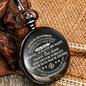 Trendy Quartz Pocket Watch to My Man/Grandson Arabic Number Pendant Chain Gifts