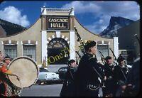 Banff Alberta Street Scene Bagpipe Band 1950s 35mm Slide Red Border Kodachrome