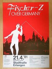FISCHER Z  1981  ERLANGEN  orig.Concert-Konzert-Tour-Poster-Plakat DIN A1