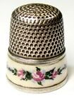 Antique Simons Bros  Sterling Silver Enamel Thimble   Pink Roses  C1920s