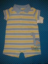 NWT~MUST SEE!~Boy's Yellow/blue Dinasaur Onepiece Romper Spring/Summer 3m