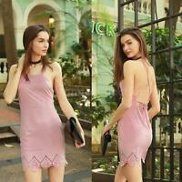 Womens Suede Spaghetti Strap Dress Lace up Mini Dress Sexy Party Clubwear A8O9