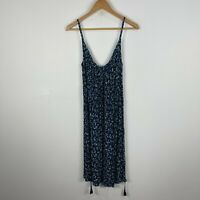 H&M Womens Dress 10 Blue Floral Sleeveless Scoop Neck