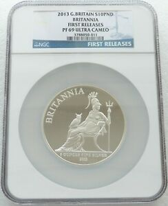 2013 Britannia £10 Ten Pound Silver Proof 5oz Coin NGC PF69 UC First Releases