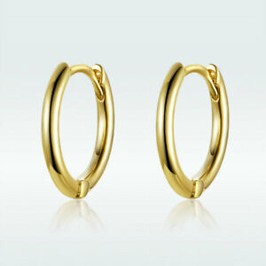 European Women Jewelry Gifts 925 Sterling Silver Huggie Earring With Gold Plated