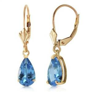 Natural Blue Topaz Pear Cut Gemstones Leverback Dangles Earrings 14K. Solid Gold
