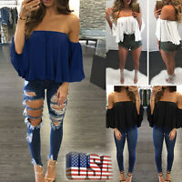 US Fashion Womens Long Sleeve Pullover T Shirt Off Shoulder Casual Blouse Tops