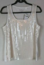 NEW By Chicos Tank Top Size 1 Square Paillette Optic White Medium Sleeveless NWT