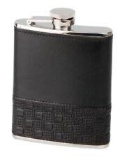 Flachmann, Taschenflasche Leder schwarz 180 ml / 6 oz, Flask Stainless Steel