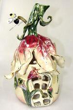 Red Tulip House Bee Blue Sky Clayworks Ceramic Votive Figurine Heather Goldminc