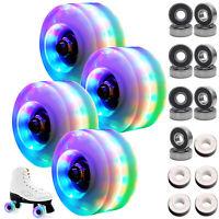 4PCS Luminous Light Up Quad Roller Skate Wheels W/ BankRoll Bearings Installed