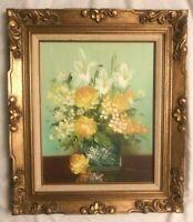 ROBERT COX Original LARGE Still Life Floral Flowers Oil Painting Signed Framed