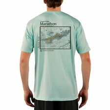 17f4be12 Marathon Nautical Chart Men's UPF 50+ UV/Sun Protection Short Sleeve T-Shirt