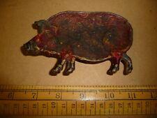 Antique enamelled Pig / Wild Boar Dish . Red Enamel Pig or Wild Boar Ash Tray