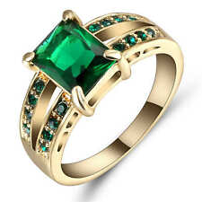18 k yellow gold filled Emerald fashion Wedding Jewelry New rings size 9