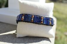 Men's Lapis Beaded Black Leather Cuff Bracelet Wristband handmade NEW