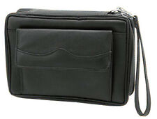 Leather Black Tobacco Pouch Travel Case with Strap Handle Holds 6 Pipes - 7886