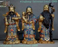 Old China Bronze Cloisonne Fu Lu Shou Three Longevity Fukurokuju God Statue Set
