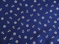 Metre Navy Blue White Anchor  Poly Cotton Dress Fabric 112cm Wd