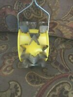 Vintage > SIX METAL Assorted Shape  COOKIE CUTTERS, ON HANDLED ROLLING UTENSIL