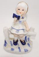VINTAGE 1980 ENESCO WHITE DELFT BLUE PORCELAIN GOLD GIRL READING BOOK FIGURINE