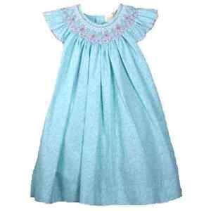 Gorgeous Ocean Aqua Petit Ami Gold Smocked Girl Dress Boutique, Angel Sleeve